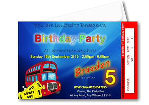 20 Personalised Party Bus Theme Birthday Party Invitations Invite R B64 boy girl