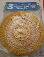 3 Vintage Wicker Straw Woven Trivets Boho Wall Decor Kitchen Yellow NIP
