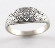 Vintage Art Deco Diamond Encrusted Wedding Band 14k White Gold Ring Size 5