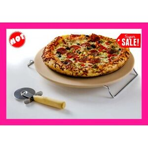 New Pampered Pizza Stone Round Baking Rack Chef Oven Natural Large AU