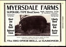 1918 Swineherd Hog Sales Ads  Myersdale Farm Gardner KS  Goldfield IA  Mexico MO