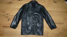 Men's River Island Leather Coat - Large - Black - Great Condition