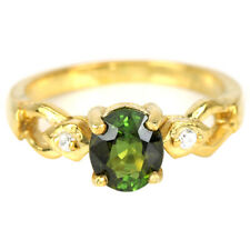 NATURAL AAA GREEN TOURMALINE OVAL & WHITE CZ STERLING 925 SILVER RING SIZE 7.25