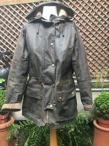 Barbour KELSALL LWX0303OL71 olive wax parka coat women's size 14