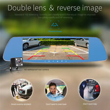 HD 1080P Dual Lens 7'' Vehicle Rearview Mirror Camera Recorder Car DVR Dash Cam·