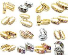 Hoops Gold Silver Filled Hoop Multi Crystals Stud Earrings