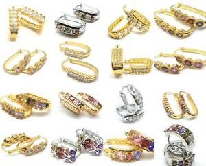 Hoop Earrings Gold Silver Hoop Multi Crystal Stud U Shape Bling Jewelry
