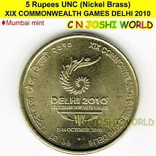 Very Rare XIX COMMONWEALTH GAMES DELHI 2010 Nickel-Brass 5 Rupees UNC # 1 Coin