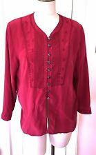 DELUXE M/L 100% Silk Embroidered Cranberry Red Tunic Top VINTAGE BOHO