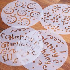 4x CAKE DECORATING STENCILS Birthday Party Fondant Icing Sugar Mold/Template