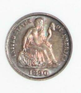 1890 MS 64 Rainbow Toned Seared Liberty Dime-1st Generation Holder
