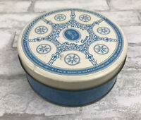 """Vintage Creamy Mints By Betty Anne Tin Container Blue & White 6"""" Diameter"""