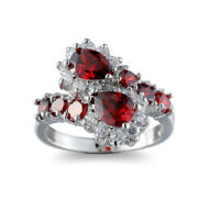 Holiday Gift Multi Natural Fire Red Garnet Gemstone Silver Ring Size 6-10 Woman