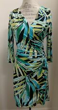 Kay Unger Stretchy Green Blue Body Con Faux Wrap Dress Size 8