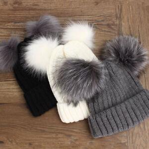 Women Ladies Winter Warm Double Faux Fur Pom Pom Chunky Knit Beanie Ski Hat Cap