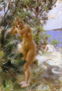 Anders Zorn After Bath Giclee Canvas Print Paintings Poster Reproduction
