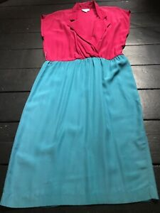 vintage 80's hot pink turquoise wiggle midi day office spring summer dress
