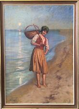 Emil Lindgren (1866-1940) pescatori DONNA AL MARE-Amalfi Italia ITALIA ITALY