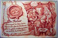 Occupation Notaire Panneau Métallique Plaque Voûté Métal Étain Signer 20 X 30 CM