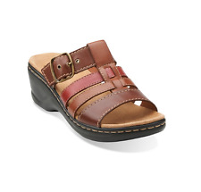 Clarks Lexi Alloy Slide Strap Sandals Brown Tan Leather Size 7 1/2  M Brand New