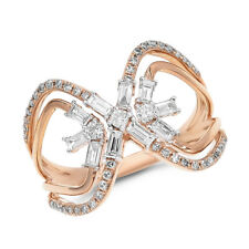 Infinity Wide Cocktail Right Hand Ring 14K Rose Gold Pave Round Diamond Baguette