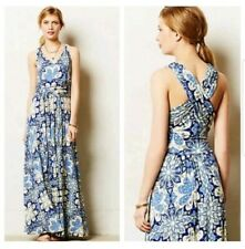 Anthropologie  Vanessa Virginia Blue Floral Capuchina Maxi Dress $165 S Small