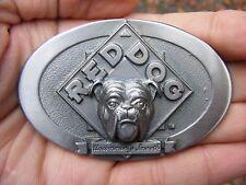 Vtg RED DOG BEER Belt Buckle LOGO Plank Road Brewery Bulldog Miller PI RARE MINT