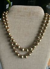 Vintage goldtone faux pearls double strand necklace
