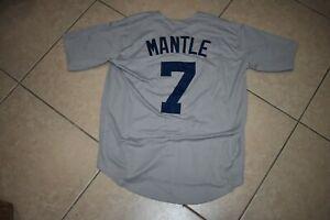 New!! Mickey Mantle New York Yankees Gray WITH NAME Baseball Jersey Men's Medium