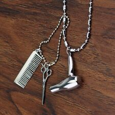 Air Blower Dryer HAIR STYLIST Comb Pendant Necklace & Chain Accessory Creative