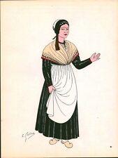 Gravure d'Emile Gallois costume des provinces françaises 1950 Lorraine, Vosges
