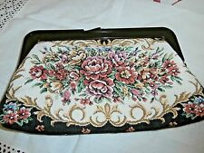 VINTAGE COTTON FLORAL TAPESTRY CLUTCH BAG ~ with BAKELITE PLASTIC OPENER & CLASP