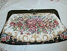 Vintage Cotton Floral Tapestry Pochette ~ avec bakélite plastique Opener & Fermoir