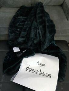 """DENNIS BASSO VELVET EMBOSSED FAUX MINK Throw Blanket 50"""" x 60"""" Teal/ Green NEW"""