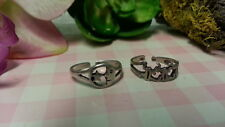 Beautiful Two New Frogs Haft-moon Toe Rings Ring 925Sterling*SizeAdjustabl e*F227