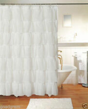 "WHITE GYPSY RUFFLED CRUSHED SHEER FABRIC BATHROOM SHOWER CURTAIN 70"" W X 72"" Lch"