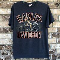 Harley-Davidson Good Clean Fun Girl T-shirt Mens R.K. Stratman Medium Hanes Gray