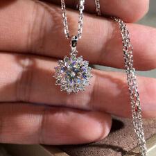 Elegant 925 Silver Necklace Pendant Women White Sapphire Wedding Jewlery Gift