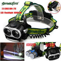 6000LM/8000LM 2X XM-L T6 LED Head Headlamp Torch Zoomable Rechargeable Headlight