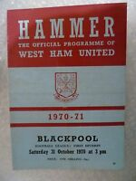 1970 WEST HAM UNITED v BLACKPOOL, 31st Oct (League Division One)