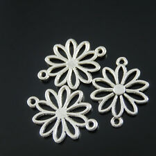 **Antique Silver Alloy Hollow Flowers Pendants Charms Craft Findings 10pcs 37597