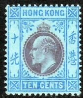 Hong Kong 1903 purple/blue on blue 10c crown CA mint SG67