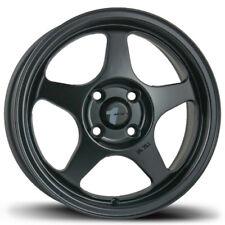Avid1 AV08 15X6.5 Spoon Slit Stream Style Rims 4x100 +35 Black Wheels New Set