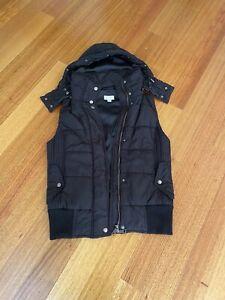 WITCHERY Size S 10 Black Hood Puffer Vest