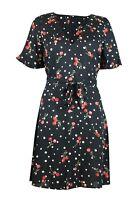 Womens Ladies Black Cherry Polka Dot Print Tie Belt V Neck Skater Dress Size 6 8