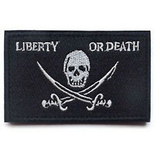 LIBERTY OR DEATH PIRATE SKULL CROSS SWORDS USA ARMY TACTICAL HOOK PATCH
