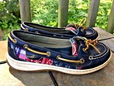 SPERRY TOP SIDER Bandanna Red & Paisley Leather Loafers Womens Shoes Sz 6.5 👣b3