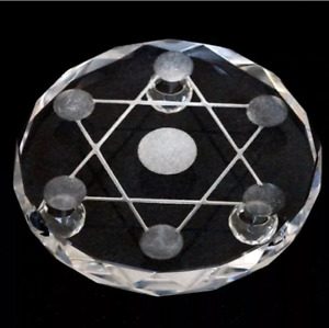 Witch Hexagram Star Seven Point Crystal Plate Occult Wiccan Healing Ball Stand