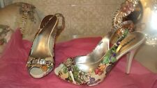 GUESS BY MARCIANO RHINESTONE SATIN FLORAL PATENT LEATHER OPEN TOE*EU38*US7.5*UK5