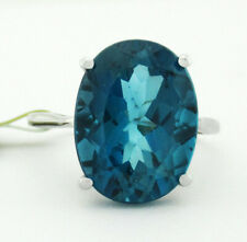 GENUINE 9.32 Cts BLUE ZIRCON RING 10K WHITE GOLD * Free Certificate Appraisal *
